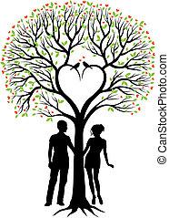 나무, 심장, 한 쌍, 벡터