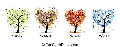 나무, 아름다운, -, 봄, 여름, 4 절기, 너의, 디자인, 예술, 가을, winter.