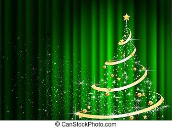 나무, 정면, 떼어내다, 커튼, 크리스마스, 녹색