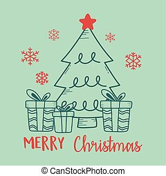 나무, 크리스마스, 배경, 녹색, 선물 상자