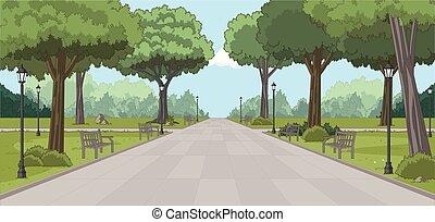 나무., 풀, 공원, 녹색