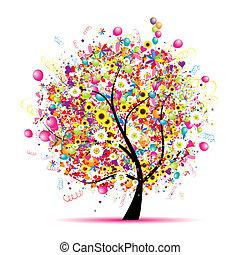 나무, 행복하다, 휴일, 혼자서 젓는 길쭉한 보트, 기구