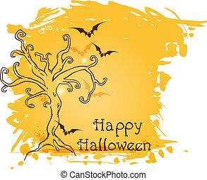 나무, halloween, 배경