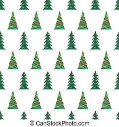 나무, seamless, 크리스마스, 녹색, 패턴