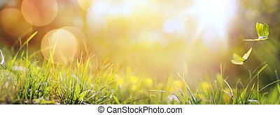 나비, 여름, 예술, 봄, 떼어내다, 배경, 신선한, 풀, 또는