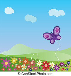 나비, 여름, 조경술을 써서 녹화하다