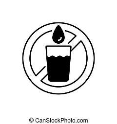 나트, 물, 선형, 아이콘, 술을 마시는 것