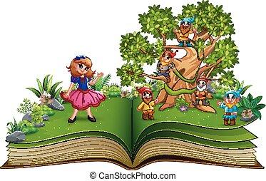 난쟁이, 눈, 나무, 책, 백색, 열려라, 만화