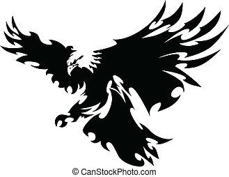 날개, 독수리, 마스코트, 디자인, 나는 듯이 빠른