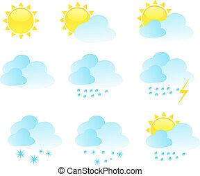 날씨, 벡터, 세트, 아이콘