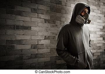 남자, 인공호흡기 가면, 입는 것