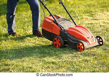 남자, 잔디, -, mowing., 녹색, sunset., 손질하는 사람, 야드, 풀, 깎는 것, 전기, 정원사, lawnmower, 노동자, garden., 절단, 트리밍