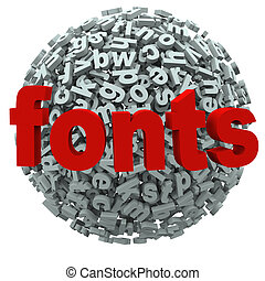 낱말, 글꼴, 편지, 활판 인쇄술, 구체
