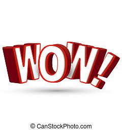 낱말, 놀라게 하는 것, 쇼, 크게, 와우, 3차원, 무엇인가, 편지, 놀람, 놀랄 만한, 굉장하다, 빨강, 놀람