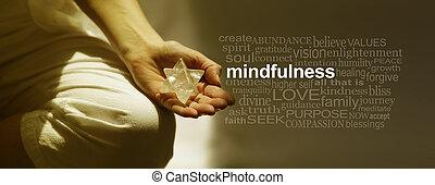 낱말, 숙려, 기치, 구름, mindfulness