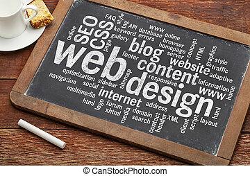 낱말, 칠판, 웹, 구름, 디자인