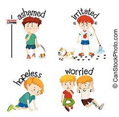 낱말, adjective, 아이, 감각, 그들, 내색