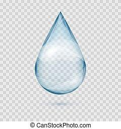 내리다, 고립된, 물, 벡터, 눈이 듯한, 투명한