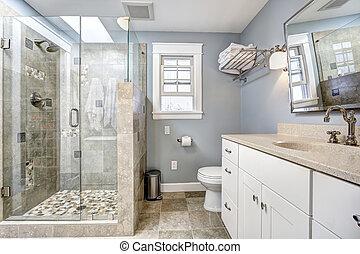 내부, 유리 문, 샤워, 욕실, 현대