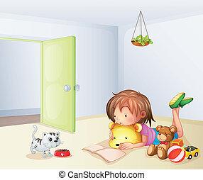 내부, 장난감, 방, 소녀, 고양이
