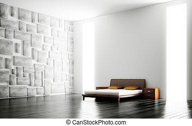 내부, 현대, 침실, 3차원