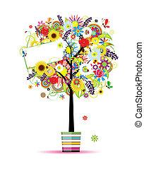 냄비 따위 하나 가득, 나무, 너의, 여름, 디자인, 아름다운