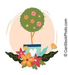 냄비 따위 하나 가득, 봄, 나무, 심장, 행복하다, 장식, 꽃