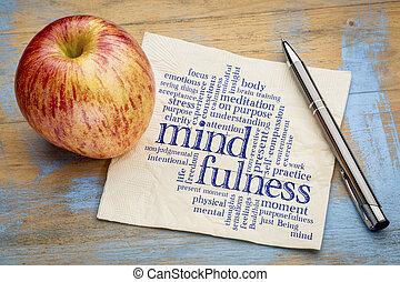 냅킨, 낱말, 구름, mindfulness