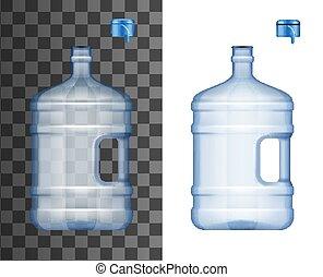냉각기, 물, mockup, 병, 모자, 크게, 열려라