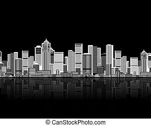 너의, 예술, 배경, seamless, 도시 풍경, 도시의 디자인
