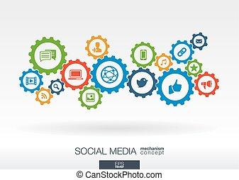 네트워크, 아이콘, 환경, concept., 친목회, 우주기계론, 떼어내다, 전화로 연결하다, 디지털, 은 설치한다, 배경, 개념, 인터넷, 기술, 은 통합했다