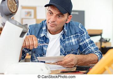 노동자, 고정, 기계, 커피, 전문가