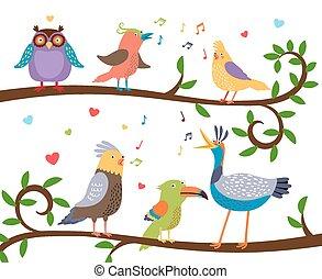 노래하는, 은 분기한다, 새, 나무