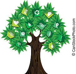 녹색, 개념, 나무, 자원