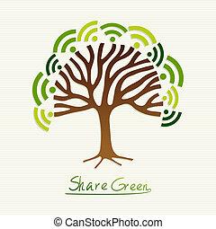 녹색, 개념, 나무
