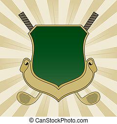 녹색, 골프, 방패, 금