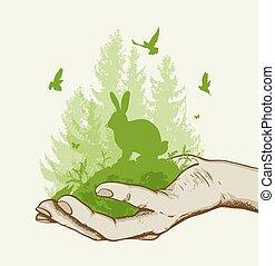 녹색 나무, 토끼, 손