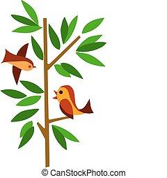 녹색 나무, 2마리의 새