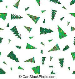 녹색 나무, seamless, 패턴, 크리스마스