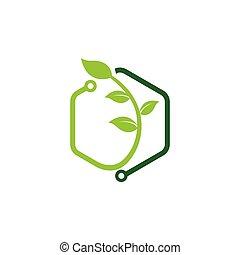 녹색, 로고, 디자인, 기술