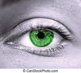 녹색, 벡터, 눈, macro., 여성