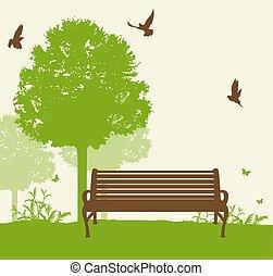 녹색, 벤치, 나무, 억압되어