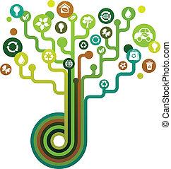 녹색, 생태학의, 나무, 아이콘