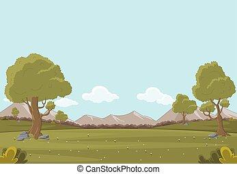 녹색 잔디, 공원, 나무