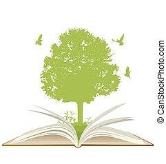 녹색, 책, 열려라, 나무