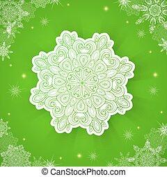 녹색, 크리스마스, 배경, 눈송이