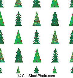 녹색, 크리스마스, 패턴, seamless, 나무