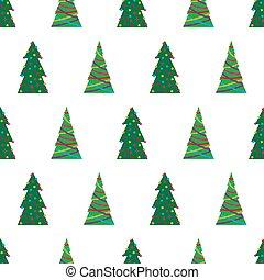 녹색, seamless, 크리스마스 나무, 패턴
