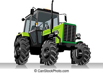 농업의, 벡터, 트랙터