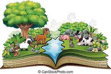 농장, 공원, 책, 동물, 열려라, 노는 것